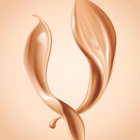 Illustration pour Liquid foundation elements. Splashing beige liquid, flow of creamy texture isolated on background. Vector realistic 3d illustration. - image libre de droit