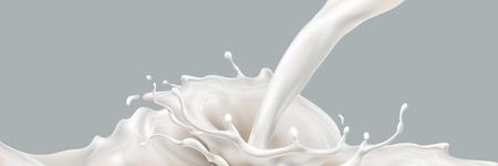 Vektor für Milk splashing effect. Liquid beverage pouring down. Design element for advertising. Vector 3d realistic illustration. - Lizenzfreies Bild