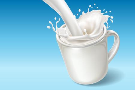 Vektor für Fresh milk falling in ceramic cup with spatters. Milkshake pouring into dish with splash or dash. Realistic yogurt flow. Natural drink and healthy vegan dessert, nutritious beverage and milky theme - Lizenzfreies Bild