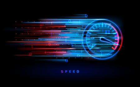 Ilustración de Download progress bar or round indicator of web speed. Sport car speedometer for hud background. Gauge control with numbers for speed measurement. Analog tachometer, high performance theme - Imagen libre de derechos