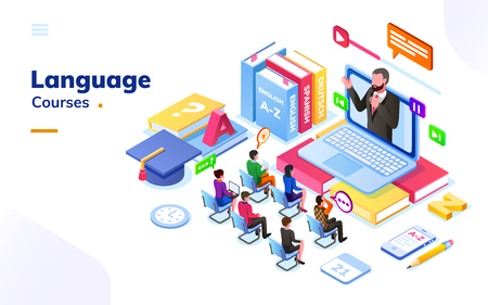 Illustration pour People at foreign language courses. English or french, german or spanish online class with teacher and notebook. E-learning or electronic learning international school with students. Tutorial or exam - image libre de droit