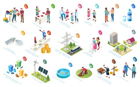 Illustration for Sustainable development, economy and society sustainability, social responsibility, vector isometric icons. CSR initiatives, life level improvement, community protection and environment conservation - Royalty Free Image