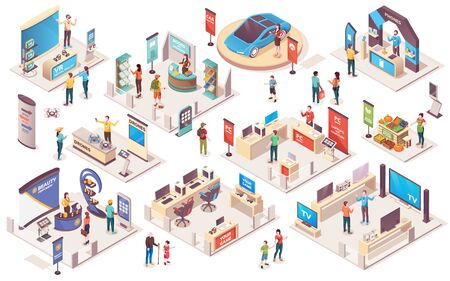 Illustration for Expo center and trade show exhibition product display stands, vector isometric icons. Promo trade exposition demo stands and showcase booth racks or information desks, visitors and consultants people - Royalty Free Image