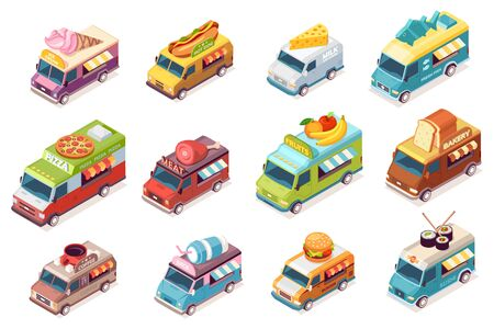 Illustration pour Set of isolated street food trucks. Vector food van with fast food and drink. Ice-cream and meat, hot do and milk, cheese, fish, pizza, fruit, bakery, bread, coffee, juice, burger, sushi. Car or auto - image libre de droit