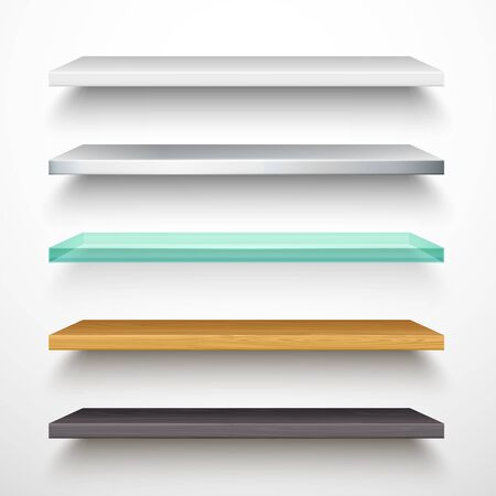 Illustration pour Book store shelves, vector isolated 3D mockup models with shadow. Horizontal white bookshelf of metal, plastic, transparent glass and wood, realistic texture, library stands and bookstore elements - image libre de droit