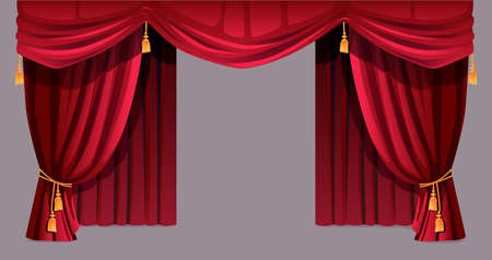 Illustration for Velvet curtain isolated decorative stage drapery cloth of silk with golden tassels ropes. Vector luxury cornice decor, domestic fabric interior textile labrecque. Theatre, cinema scenes decorations - Royalty Free Image