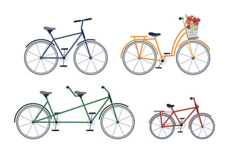 Illustration pour Set of adult and kids bicycles, two-seater bike, with blooming flowers isolated icons set. Vector cycling transport, leisure sport activity mountainbike with pedals, extreme adventure cycle - image libre de droit