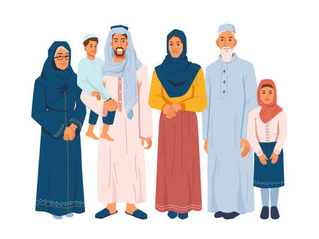 Illustration pour Muslim family, several generations isolated arabian people in national cloth. Vector parents and grandparents, children daughter and son. Bearded man and woman in hijab, ramadan kareem celebration - image libre de droit