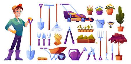 Illustration for Gardener and gardening tools isolated cartoon set - Royalty Free Image