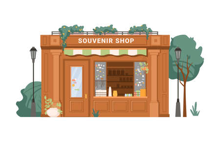 Illustration for Souvenir shop facade exterior isolated small retail business building flat cartoon. Vector antique store, collectables in shop window, presents, gifts, decorative vases. Green trees, street lamps - Royalty Free Image
