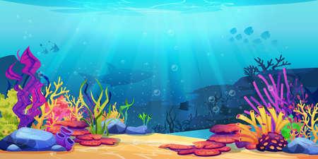 Illustration pour Coral reef underwater world with marine animals silhouettes and algae seaweeds, sea bottom cartoon background. Vector undersea plants, aquarium with seafloor, marine wildlife scenery on depth - image libre de droit