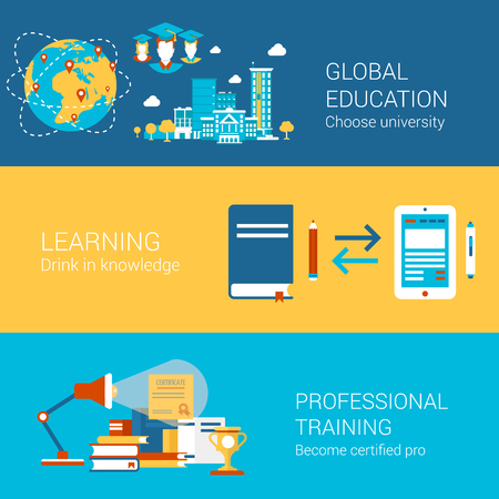 Education world university study learning professional training concept flat icons set  certification and vector web banners illustration print materials website click infographics elements collection.