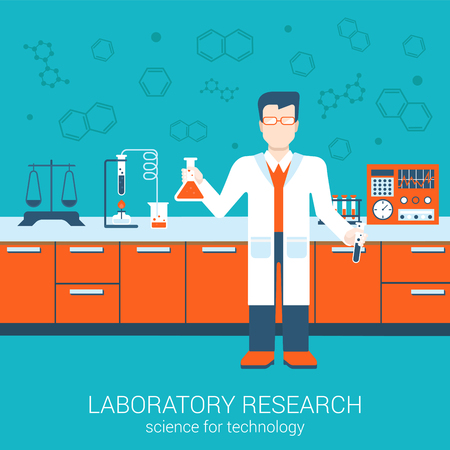 Laboratory research chemical flat style design vector illustration science for technology concept. Collage of laboratory staff with flask interior infographics. Big flat conceptual collection.