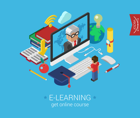Foto de Online education course e-learning flat 3d isometric modern concept vector icons collage. Cartoon man figure stands before monitor showing teacher. Web illustration and website infographic elements. - Imagen libre de derechos