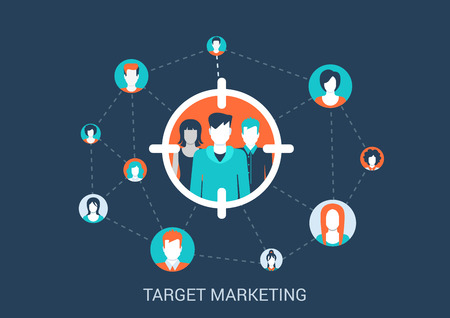 Flat style design vector illustration marketing targeting concept. Target group of people in sight marker connected with other abstract profile avatars. Big flat conceptual collection.