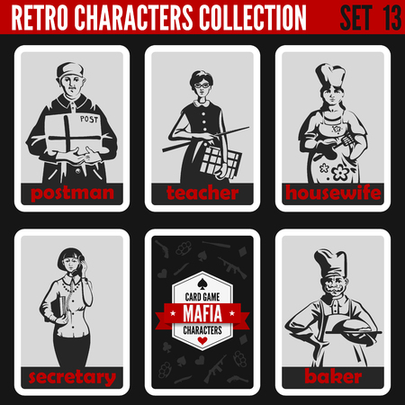 Vintage retro people collection. Mafia noir style. Postman, Teacher, Housewife, Secretary, Baker. Professions silhouettes.