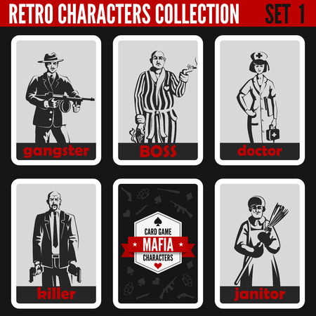 Retro vintage people collection. Mafia noir style. Gangster, Boss, Doctor, Killer, Janitor.  Professions silhouettes.
