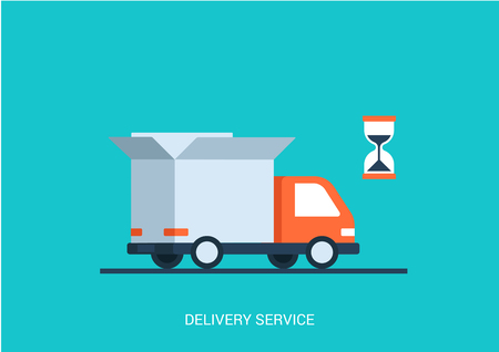 Ilustración de Flat style vector illustration delivery service concept. Abstract truck with open white box container and hourglass product item goods shop shipping. Big flat conceptual collection. - Imagen libre de derechos