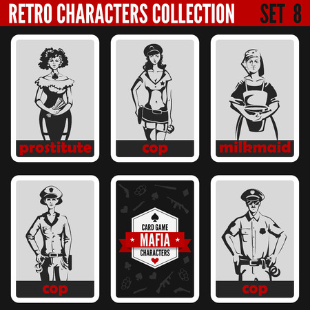 Retro vintage people collection. Mafia noir style. Cops, Prostitute, Milkmaid. 