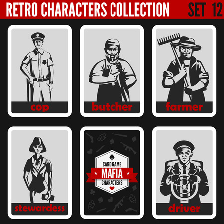 Vintage retro people collection. Mafia noir style. Cop, Butcher, Farmer, Stewardess, Driver. Professions silhouettes.