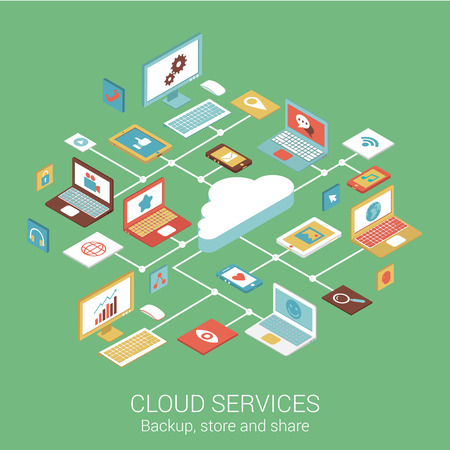 Illustration pour Modern flat design concept for cloud services device computer tablet phone and vector web banners illustration print materials website click infographics elements isometric collection. - image libre de droit