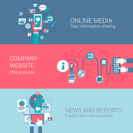 Online social media company website news letter report concept flat icons set of information sources and vector web banners illustration print materials website click infographics elements collection.