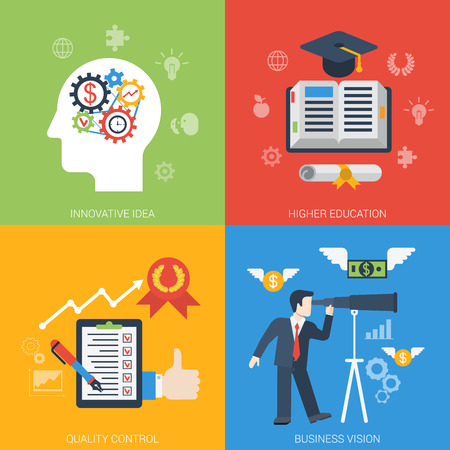 Flat style web banner modern icon set concept from innovative idea to success in business. Gear cogwheel mechanism brain education quality control vision. Website click infogaphics elements collection