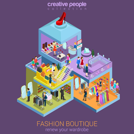 Illustration for Flat 3d isometric fashion boutique shopping mall sale concept - Royalty Free Image
