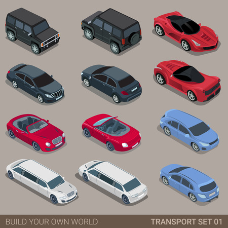 Flat 3d isometric high quality city transport icon set. Car sportscar SUV lux high class sedan limousine limo convertible cabrio. Build your own world web infographic collection.