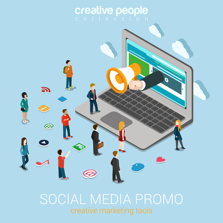 Illustration for Social media marketing online promotion flat 3d web isometric infographic technology concept vector. Hand loudspeaker sticks big laptop micro people around service icons. Creative people collection. - Royalty Free Image