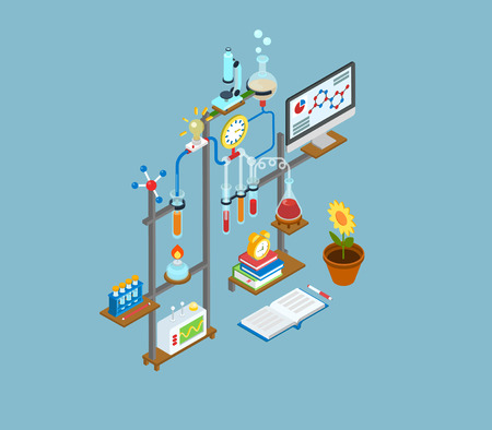 Flat 3d web isometric science research lab, test laboratory experiment equipment infographic concept vector. Physics, chemical, biological chain reaction innovation scientific process icons collage.