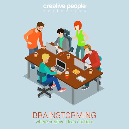 Illustration pour Brainstorming creative people flat 3d web isometric infographic concept vector. Advertising agency work process. Teamwork around table laptop, chief, art director, designer, programmer. - image libre de droit