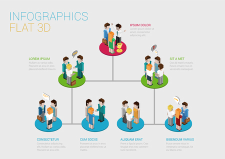 Flat 3d isometric infographic concept of company corporate department diagram structure web concept vector template. Connected platform pedestals groups of business people. Organization chart.