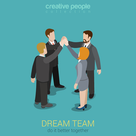 Dream team teambuilding togetherness flat 3d web isometric infographic business work concept vector template. Four businesspeople join hands to make a deal. Creative people collection.