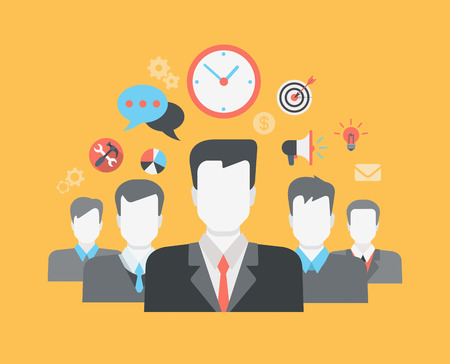 Vektor für Flat style modern web infographic corporate human relations (HR), teamwork, workforce, team, time and staff management concept. Group of young businessmen and creative icon set collage. - Lizenzfreies Bild