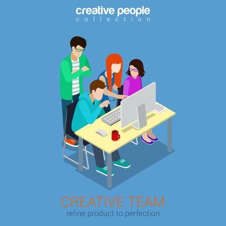 Ilustración de Brainstorming creative team people flat 3d web isometric - Imagen libre de derechos