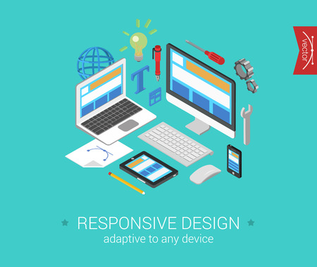 Illustration for Flat responsive webdesign 3d isometric modern design concept vector. Laptop, desktop, tablet, touch screen phone website interface. Flat web illustration infographics collection for website. - Royalty Free Image