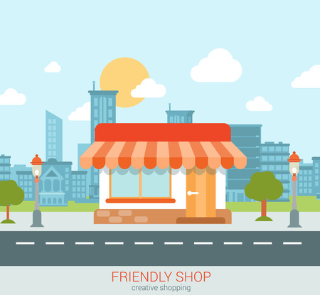 Illustration pour Flat style modern tiny friendly shop showcase in the city web concept vector. Little store with marquise sunblind stands on the street edge. Small business retail website conceptual illustration. - image libre de droit