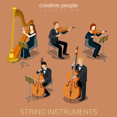 String instrument musicians flat 3d web isometric infographic concept vector. Group of creative young people playing on classic instruments scene theater opera concert. Cello violin harp viola double bass contrabass.