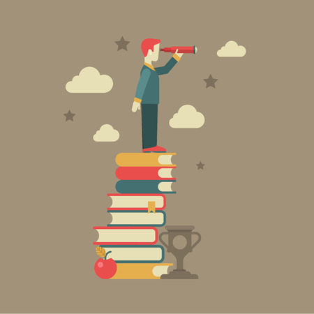 Flat education future vision concept. Man looking through spyglass stands on book heap, apple, clouds, stars, cup winner. Conceptual web illustration for power of knowledge, meaning of being educated.