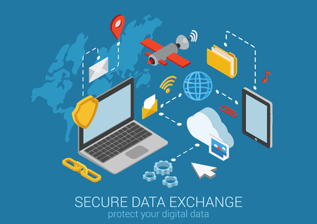 Ilustración de Flat 3d web isometric online safety, data protection, secure connection, cryptography, antivirus. Firewall, cloud file exchange, internet security, wireless access, VPN infographic concept vector. - Imagen libre de derechos