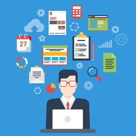 Flat style modern businessman creative process infographic concept. Web illustration for creating business strategy plan, generating report. Man work with laptop and calendar schedule interface icons.