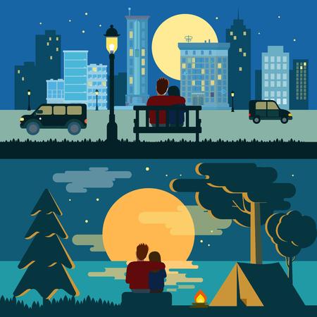 Foto de Hug cuddle couple romance love dating flat night city and outdoor landscape romance concept vector template. Creative romantic people collection. - Imagen libre de derechos