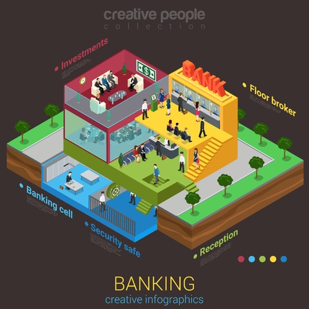 Flat 3d isometric abstract bank building floor interior departments concept vector. Reception safe depository meeting room workplaces top management indoor stairs. Creative business people collection.