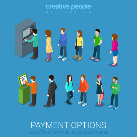 Payment options banking finance money flat 3d web isometric infographic vector. Line of casual young modern men women waiting ATM and terminal. Creative people collection.