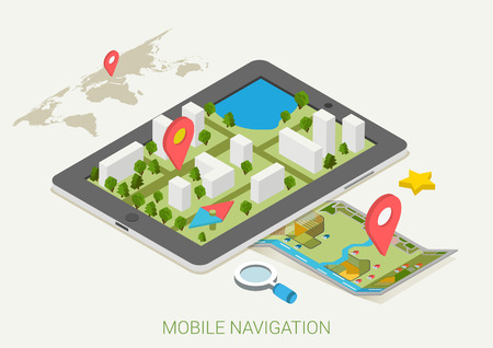 Flat 3d isometric mobile GPS navigation maps infographic concept vector. Tablet with digital satellite map, paper map with marker, search magnifier glass, world silhouette pin.
