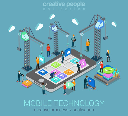 Illustration pour Mobile technology operating system creative process visualization flat 3d web isometric infographic concept vector template. Cranes placing building blocks mobile app icons to smartphone. - image libre de droit