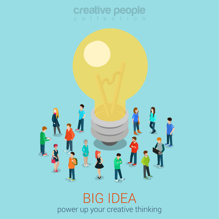 Big idea brainstorming flat 3d web isometric infographic concept vector. Casual men women group around hug lamp light bulb. Creative people collection.