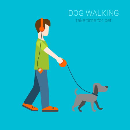 Flat dog walking boy in headphones listening music. Creative people collection.