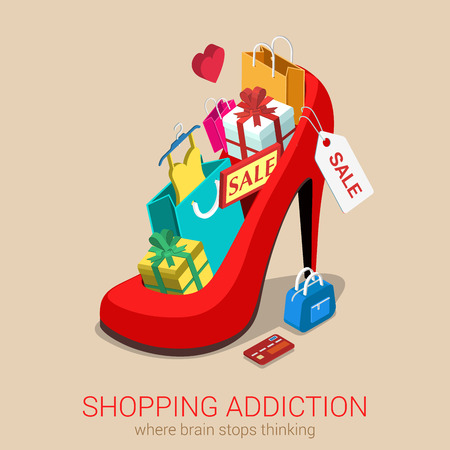 Shopping addiction sale madness flat 3d isometric web infographic template vector concept. Huge oversized red shoe full of gift box goods clothes credit card bag. Creative design conceptual collection.